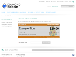 Diamond Decor gift card balance check