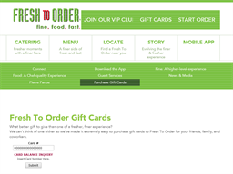Fresh to Order gift card balance check