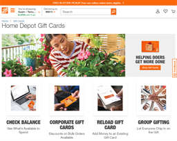Home Depot gift card purchase