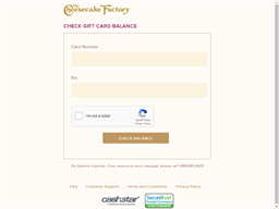 Cheesecake Factory gift card balance check