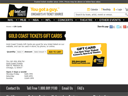 Gold Coast Tickets gift card purchase
