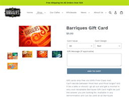 Barriques Coffee Roasters and Cafes gift card purchase