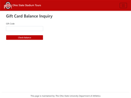 Ohio State Stadium Tours gift card balance check