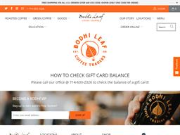 Bodhi Leaf Coffee Traders gift card balance check