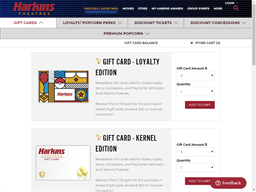 Harkins Theatres gift card purchase