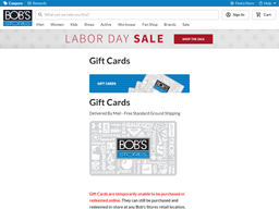 Bobs Stores gift card purchase