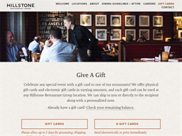 Hillstone Restaurant Group gift card balance check