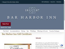 Bar Harbor Inn gift card purchase
