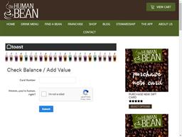 Human Bean gift card balance check