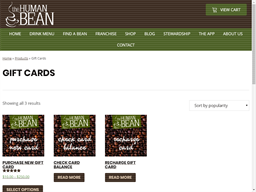 Human Bean gift card purchase