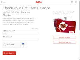 HyVee gift card balance check