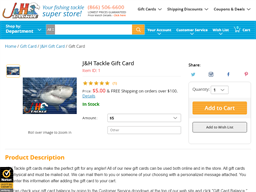 J & H Tackle gift card purchase