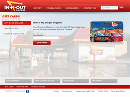 In N Out Burger gift card balance check