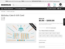 Kohls Cash gift card purchase
