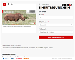 Zoo Zürich gift card purchase
