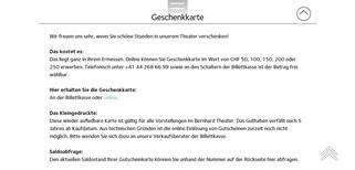 Bernhard Theater gift card purchase