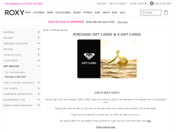 Roxy gift card purchase