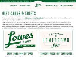 Lowes Foods gift card purchase