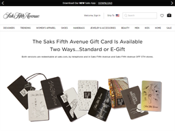 Saks Fifth Avenue gift card purchase