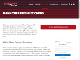 Mann Theatres gift card purchase