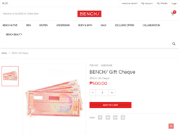 BENCH gift card purchase