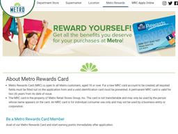 Metro Rewards gift card purchase