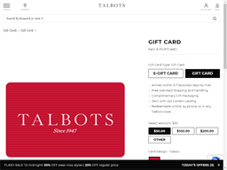 Talbots gift card purchase