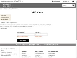 Yankee Candle gift card balance check