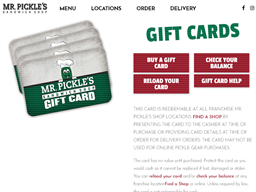 Mr. Pickle's Sandwich Shops gift card purchase
