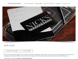 Nick's Restaurants gift card purchase