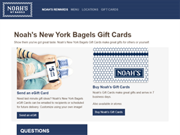 Noah's New York Bagels gift card balance check