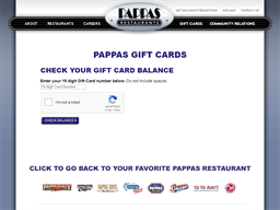 Pappas Restaurants gift card balance check