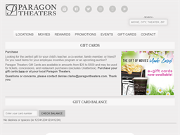 Paragon Theaters gift card balance check