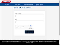 Race Trac gift card balance check