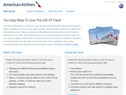 American Airlines gift card purchase