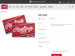 Rawlings Baseball & Leather Goods gift card balance check