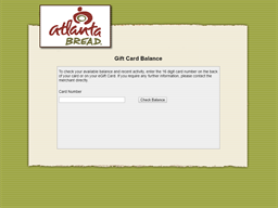 Atlanta Bread Company gift card balance check