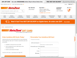 Auto Zone gift card purchase