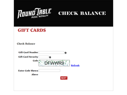 Round Table Pizza gift card balance check