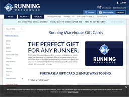 Running Warehouse gift card purchase