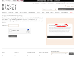 Beauty Brands gift card balance check