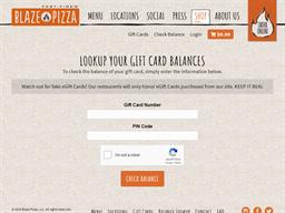 Blaze Pizza gift card balance check