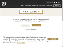 SPIN! Pizza gift card purchase