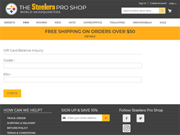 Steelers gift card balance check