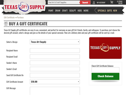 Texas Art Supply gift card purchase