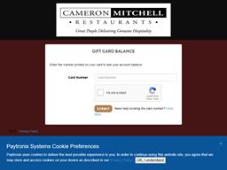 Cameron Mitchell Restaurants gift card balance check