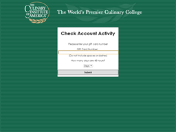 The Culinary Institute of America gift card balance check