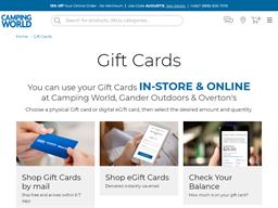Camping World gift card balance check