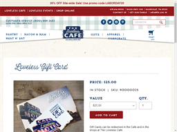 The Loveless Cafe gift card balance check