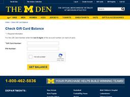 The M Den gift card balance check